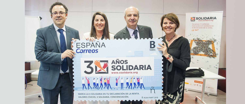 Jesús García, director de la Confederación Autismo España; Asunción Montero, presidenta de la Plataforma de ONG de Acción Social; Modesto Fraguas el director de Filatelia de CORREOS y María Luisa Gómez, directora de la Plataforma de ONG